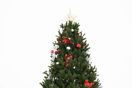 Christmas tree decorated with red and silver bows and balls, gold star isolated on white background