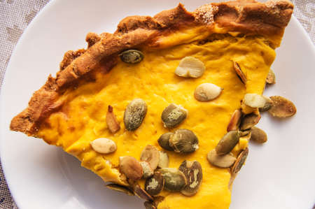 Close-up of a piece of freshly baked pumpkin pie sprinkled with pumpkin seeds for Thanksgiving or the holiday home treat Zdjęcie Seryjne