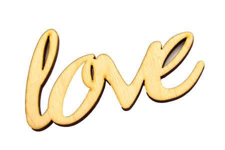 Wooden word love isolated by clipping on white background, for holiday decoration, template for design 版權商用圖片