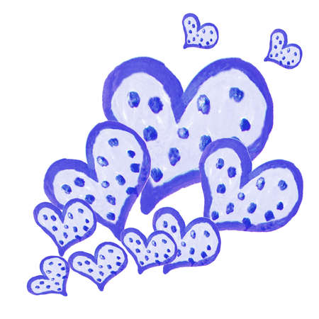 Set of cute blue hearts of different size on white background, creative watercolor drawing for Valentines Day.