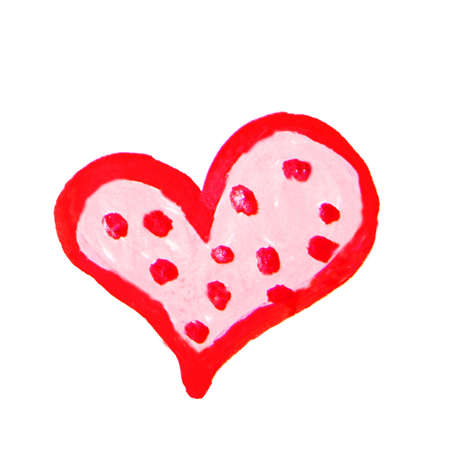 Red watercolor heart background design, decorated with circles and dots, on white background, romantic love symbol