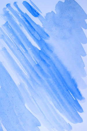 Blue abstract watercolor background, diagonal sloping lines and brushstrokes
