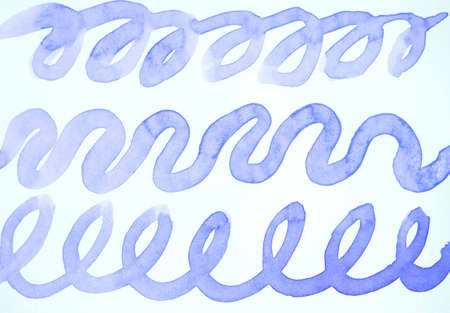Watercolor drawing, abstract wavy lines with zigzags and loops of blue paint on a white background