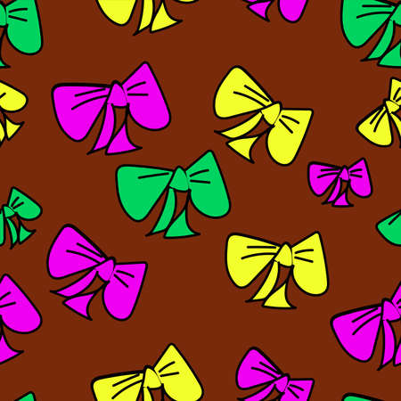 Cute vector seamless pattern with colored cartoon bows on brown background, fabric blank, packing pattern, design.