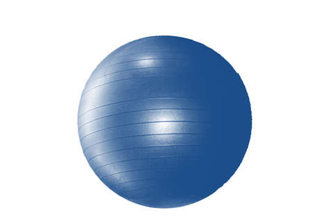 Large blue fitness ball isolated on white background by clipping. Reklamní fotografie
