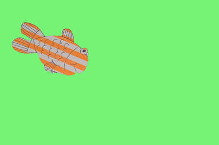 Paper striped fish on a green background by clipping, fish day, April fool's day celebration.