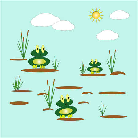 Vector illustration with two cute funny frogs sitting on tussocks in a pond, among reeds against the background of the sky and the sun. Flat design. Vectores