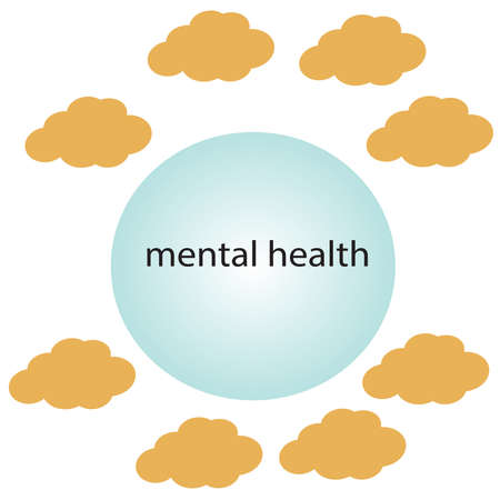 Mental health circle with text, brain cloud, mental activity, health concept.