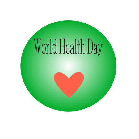 Abstract vector concept of world health day with heart and text.