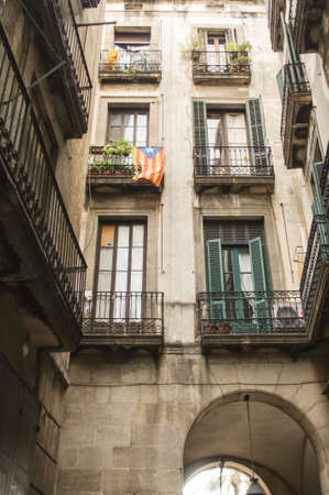 House in Barcelona city with a lot of flags of independent Catalonia Фото со стока