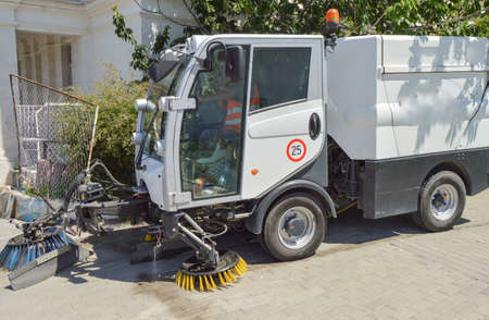 Close up shot of street cleaner machine
