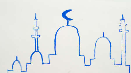 Watercolor drawing silhouette of a mosque, minarets simple childrens illustration, Ramadan holiday