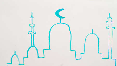 Hand drawn mosque silhouette on a colorful watercolor stain. Islamic background.