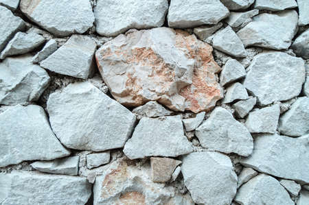Stone wall background texture, grey rough stone