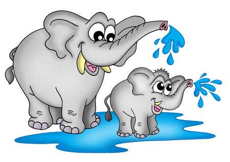 elefante cartoon: Ilustraci�n de dos elefantes. Una peque�a de un gran pie en el agua y la reproducci�n. Foto de archivo