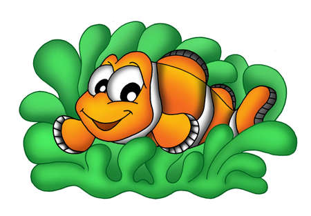 aquatic herb: Color illustration of clownfish in anemone. Stock Photo