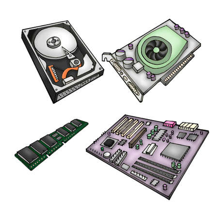 pci: Color illustration of computer parts - harddrive, graphics card, memory module, motherboard.