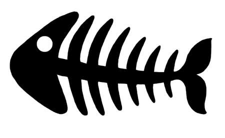 skeleton fish: Illustration of black fishbone on white background.