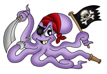 menace: Color illustration of pirate octopus. Stock Photo