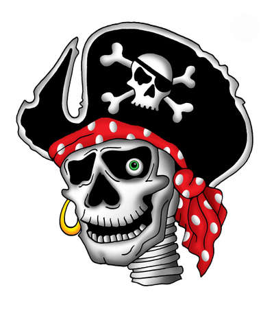 sabre: Color illustration of pirate skull in hat.