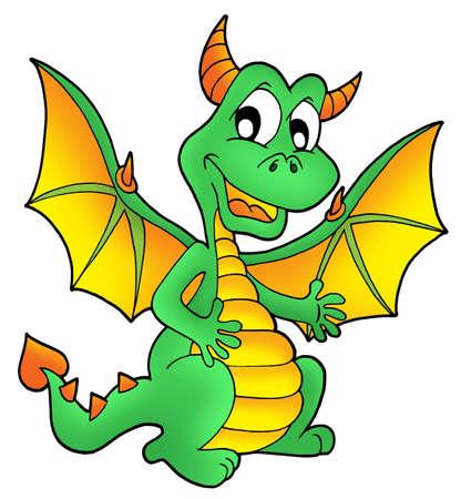 cute dragon: Cute green dragon - color illustration.