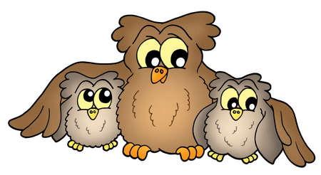 Three cute brown owls - color illustration. Stock Illustration - 3244305