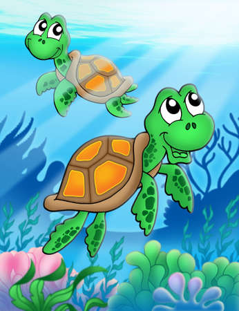 thorax: Little sea turtles - color illustration. Stock Photo