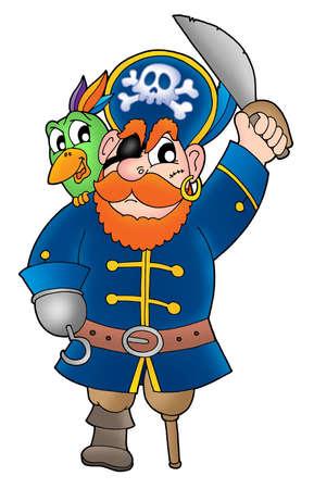 piratenhoed: Piraat met papegaai - kleur illustratie. Stockfoto