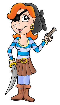 Pirate woman with sabre and pistol - color illustration. Stock Illustration - 3244313