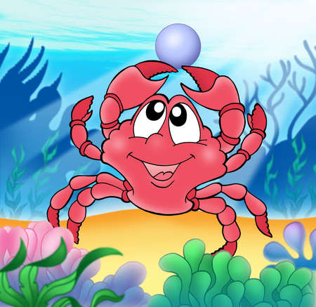 Cute crab with pearl - color illustration. illustration