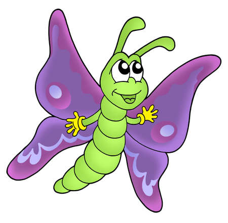 hand butterfly: Cute purple butterfly - color illustration. Stock Photo