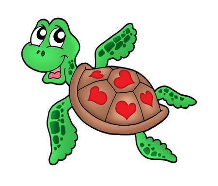 Little sea turtle with hearts - color illustration. Stock Photo