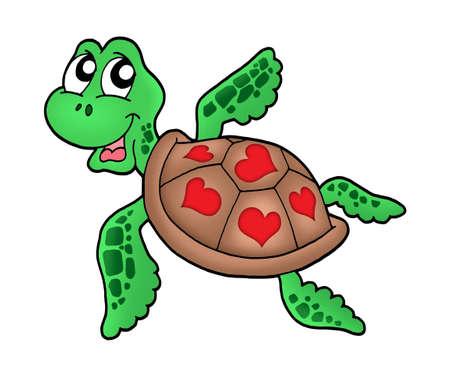 Poco de tortugas marinas con corazones - color ilustración.