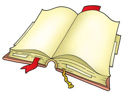 Open book on white background - color illustration. Stock Illustration - 3252364