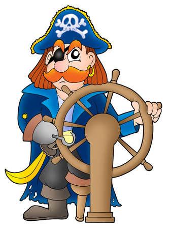 corsair: Pirate captain on white background - color illustration. Stock Photo