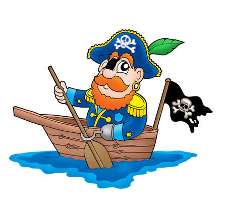 Pirate in the boat - color illustration. Stock Illustration - 3252376