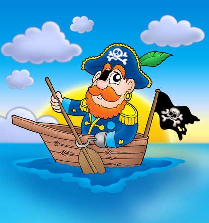 piratenhoed: Piraat op boot met zonsondergang - kleur illustratie. Stockfoto