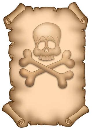 textual: Pirate parchment A4 - color illustration.