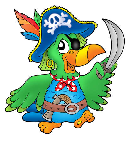 cartoon parrot: Pirate parrot on white background - color illustration.
