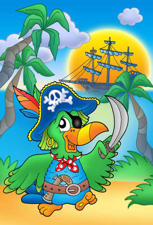Pirate parrot with boat - color illustration.