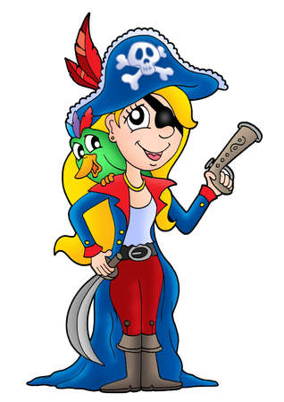 Pirate woman with parrot - color illustration. Stock Illustration - 3252369