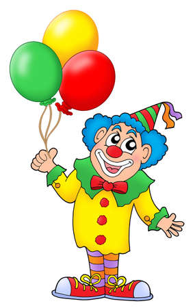 balon: Clown with colorful balloons - color illustration.