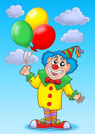 Clown with balloons on blue sky - color illustration. illustration