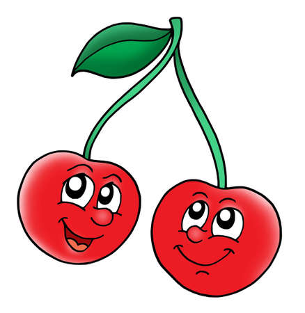 fruitage: Smiling red cherries - color illustration.