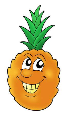 Smiling orange pineapple - color illustration. illustration