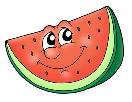 red eye: Slice of watermelon - color illustration. Stock Photo