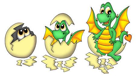 green dragon: Egg and dragon - color illustration. Stock Photo