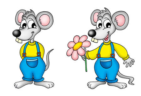 endearment: pair of mouses - color illustration. Stock Photo