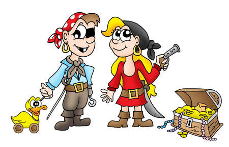 Pirate kids with duck and treasure - color illustration. illustration