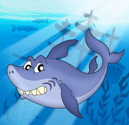 Shark with shipwreck - color illustration. Stock Illustration - 3267205